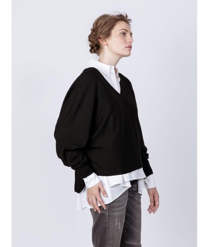 Pull de créateur - Pull Anago pour femme en laine mérinos et Col V