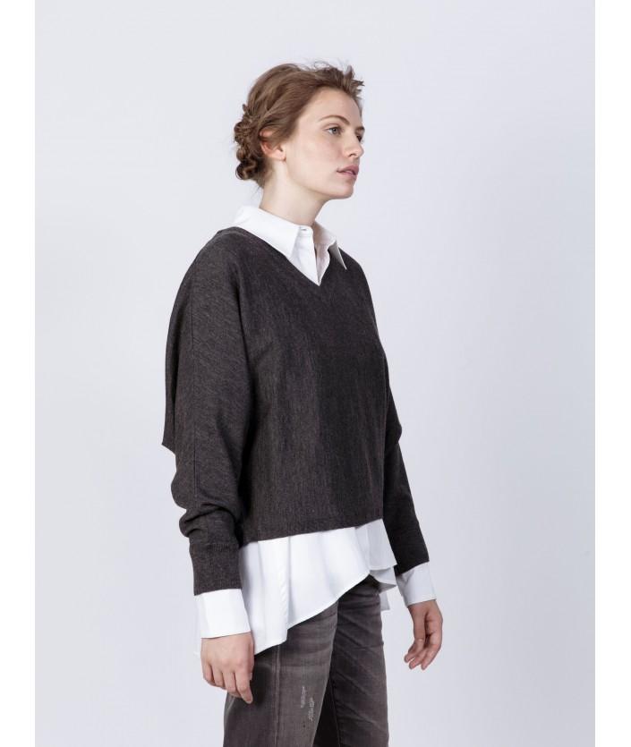 pull Anago carbone en laine mérinos