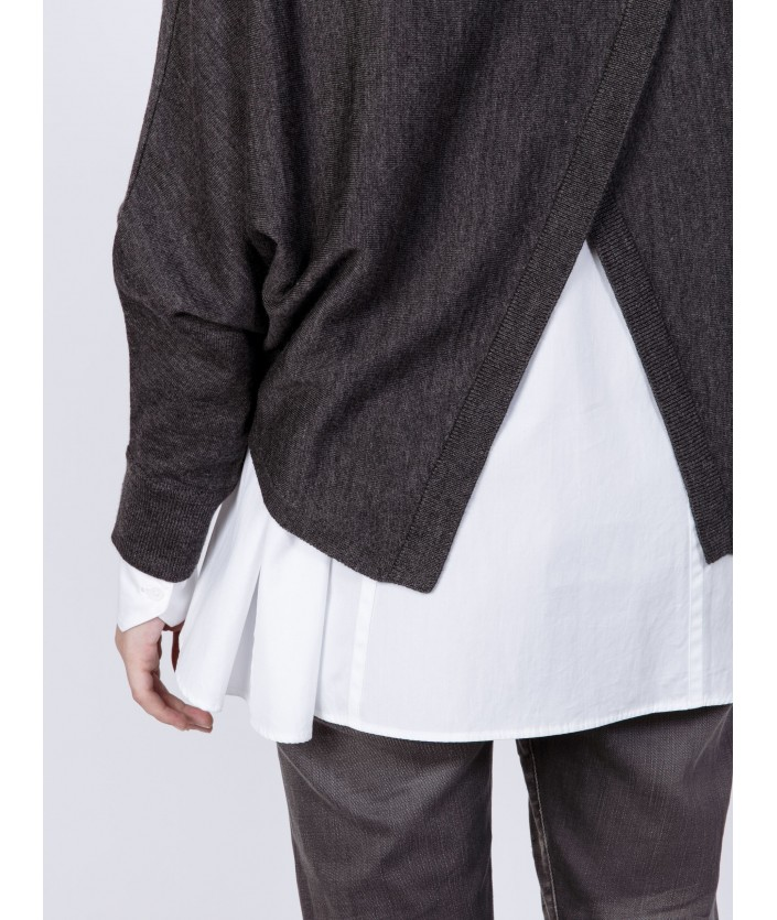 Pull de luxe pour femme : pull Anago carbone en laine mérinos