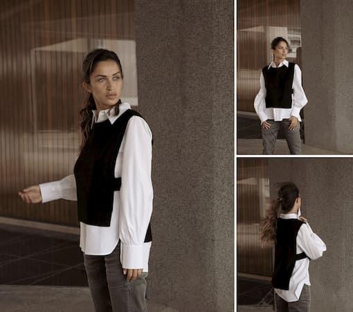 pull débardeur en laine et chemise en popeline de coton